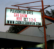 Cookees Drive-In General Pleasonton Days Car Show 2009 Sign