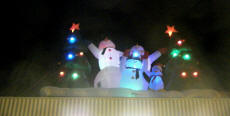 Cookees Drive-In Christmas 2009 Decorations Inflatable musical characters on awning