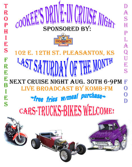Cookees Drive-In Second Cruise Night 2008 Flier
