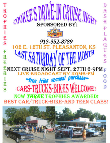 Cookees Drive-In Cruise Night 3 Flier 2008